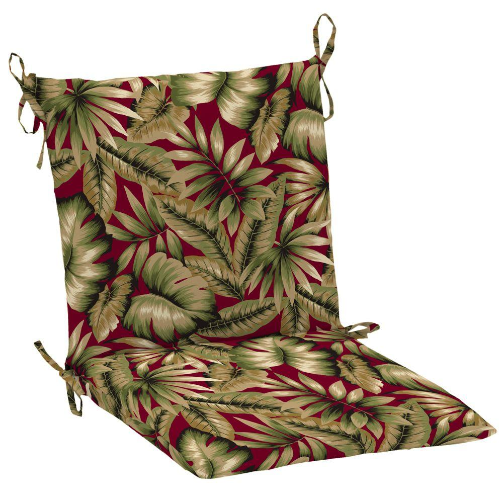 Hampton Bay Chili Tropical Mid Back Outdoor Chair Cushion (2-Pack)-DISCONTINUED