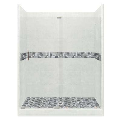 Newport Grand Slider 36 in. x 60 in. x 80 in. Center Drain Alcove Shower Kit in Natural Buff and Satin Nickel Hardware