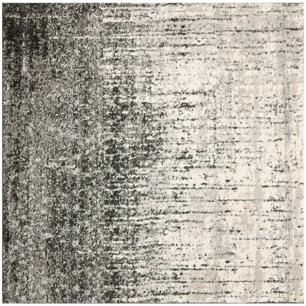 Retro Black/Light Grey 6 ft. x 6 ft. Square Area Rug