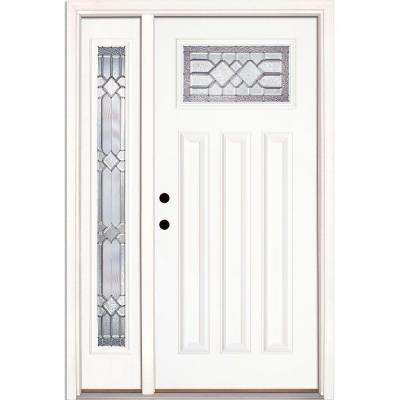 50.5 in.x81.625in.Mission Pointe Zinc Craftsman Lt Unfinished Smooth Right-Hd Fiberglass Prehung Front Door w/ Sidelite