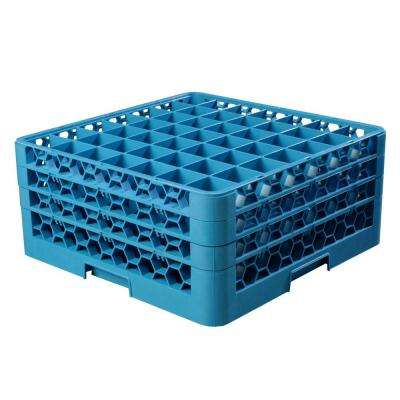 19.75x19.75 in. 49-Compartment 3 Extenders Glass Rack (for Glass 2.13 in. Diameter, 7.94 in. H) in Blue (Case of 2)