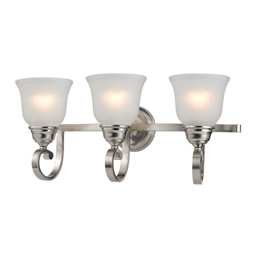Titan Lighting Hamilton 3 Light Brushed Nickel Bath Bar Light Tn 60096 The Home Depot