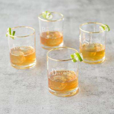 Old Fashioned 11 oz. Gold Rim Whiskey Glasses