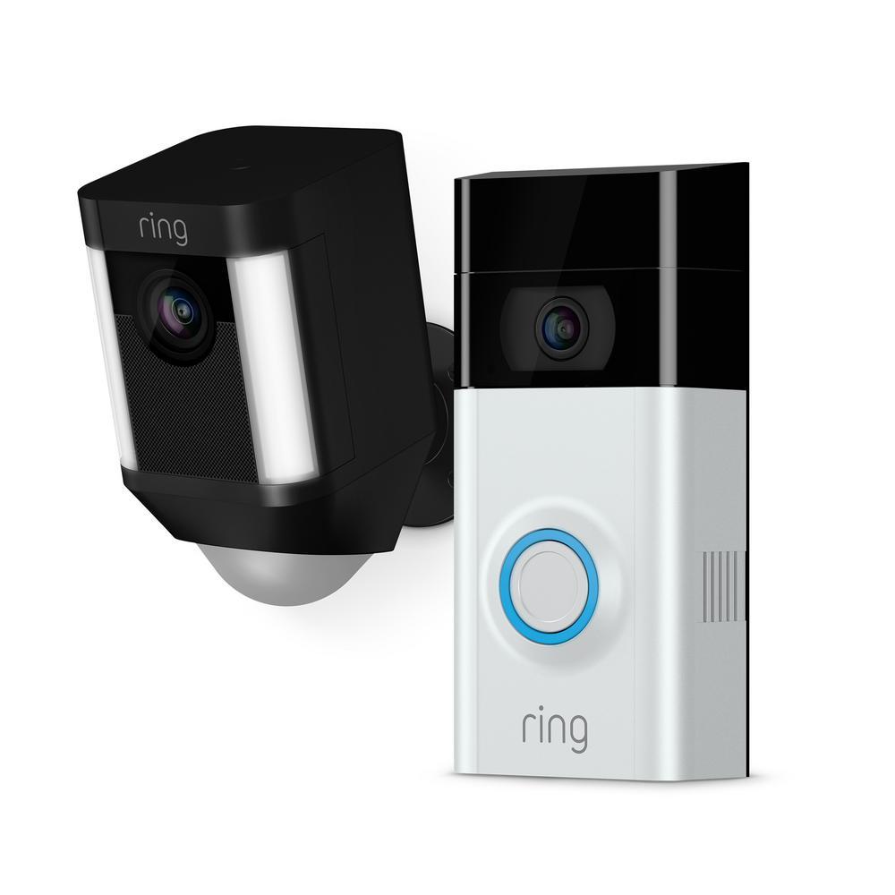 Ring Wireless Video Doorbell 2 with Spotlight Cam Battery Black