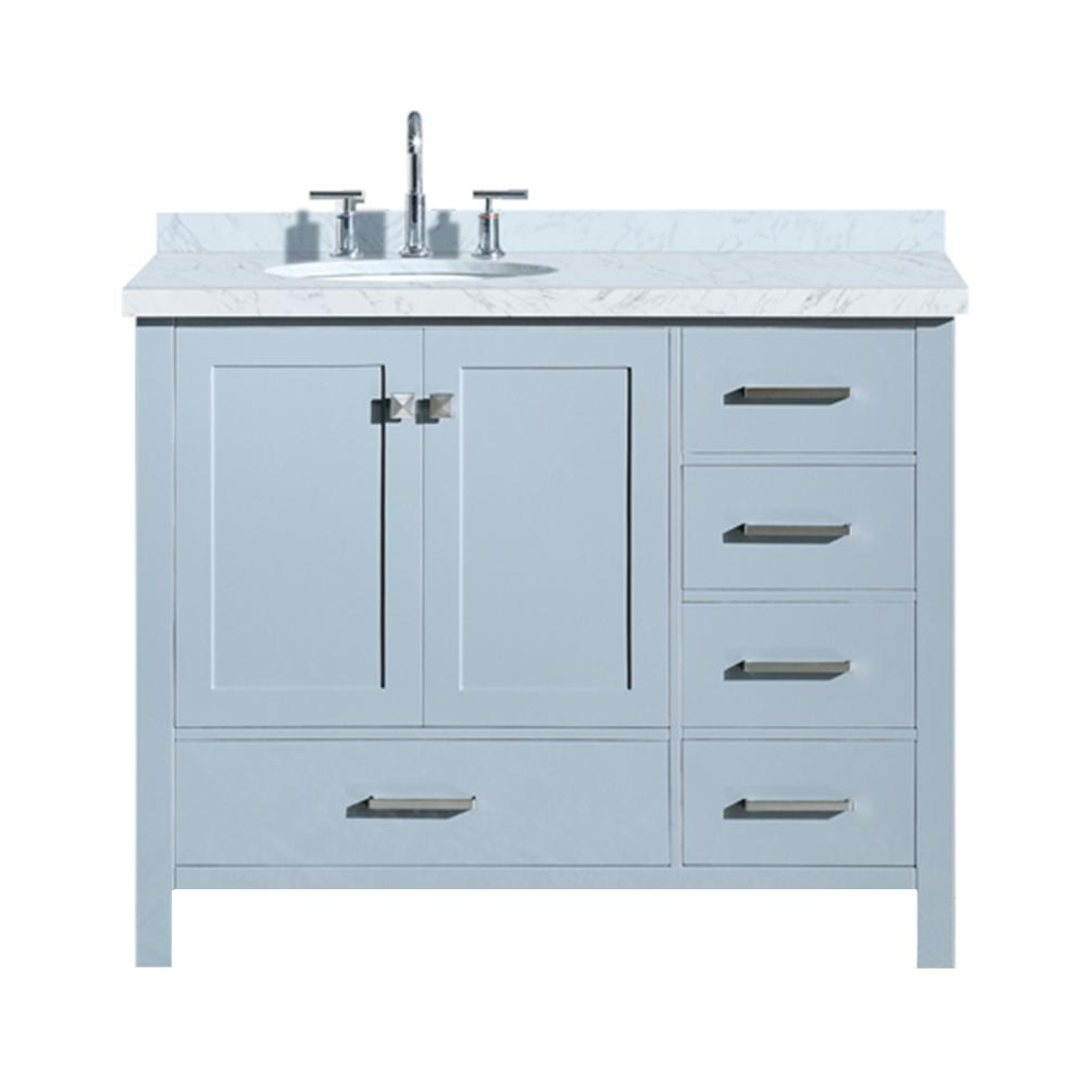 Ariel Cambridge 43 in. Bath Vanity in Grey with Marble Vanity Top in ...