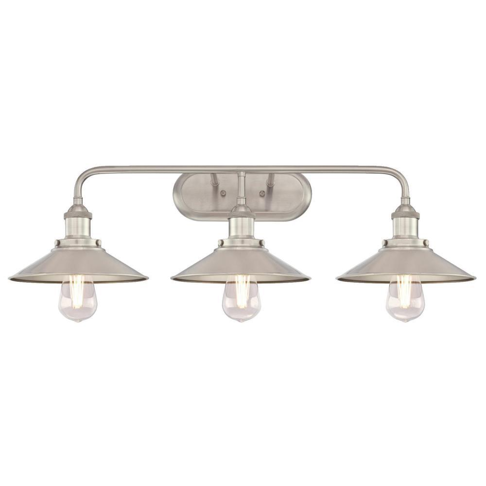 Westinghouse maggie 3 light brushed nickel wall mount bath light