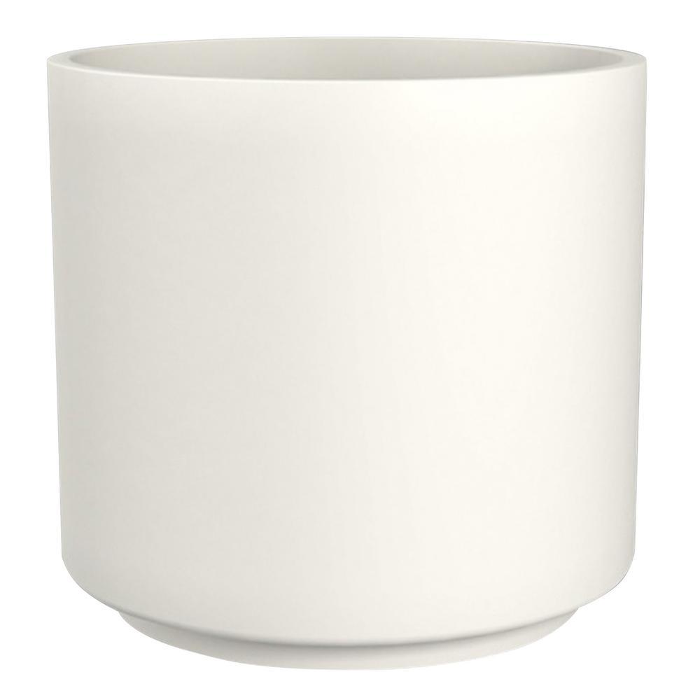 16 in. Matte White Cylinder Ceramic Planter