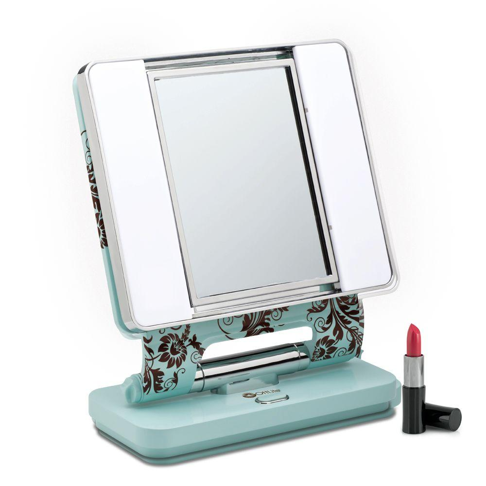 OttLite 13 in. Turquoise Blue And Brown Square Makeup Mirror With Dual Lights-DISCONTINUED