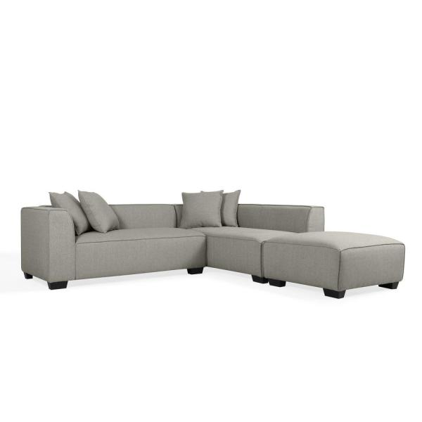 Phoenix 3-Piece Dove Gray Linen 4-Seater L-Shaped Left-Facing Sectional Sofa with Ottoman