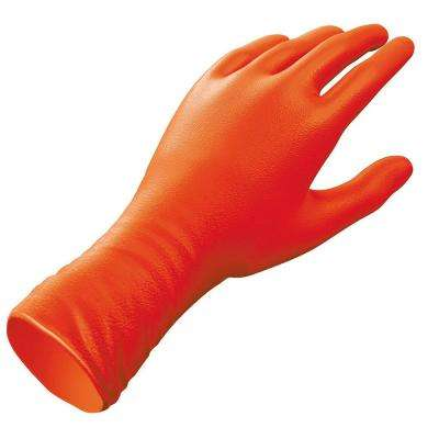 Sportsman Heavy Duty One Size Fits Most High Visibility Orange 12 in. Long Nitrile Gloves (12-Count)