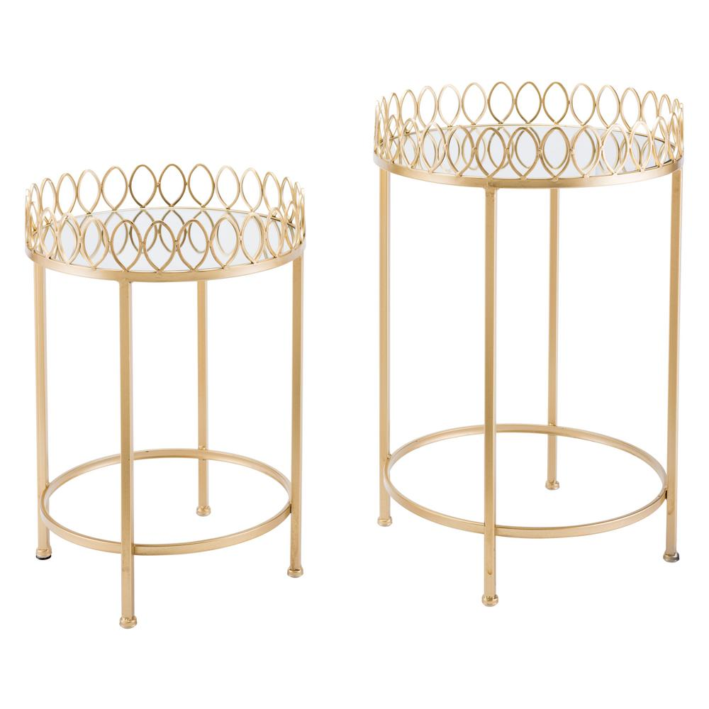 ZUO Gold Tray Tables (Set of 2)  sc 1 st  Home Depot & ZUO Gold Tray Tables (Set of 2)-A10767 - The Home Depot