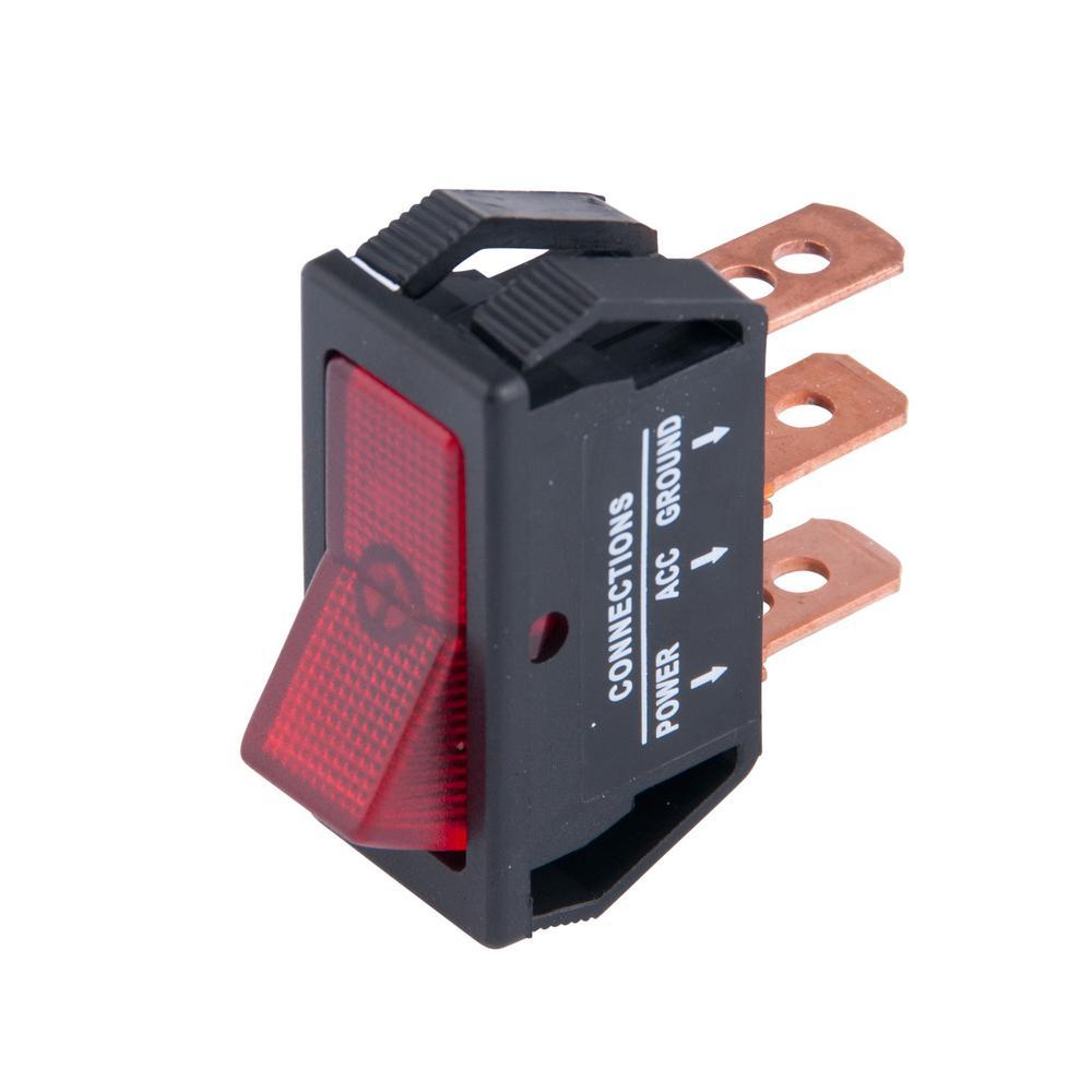 Illuminated 12-Volt DC/20 Amp Rocker Switch, Red