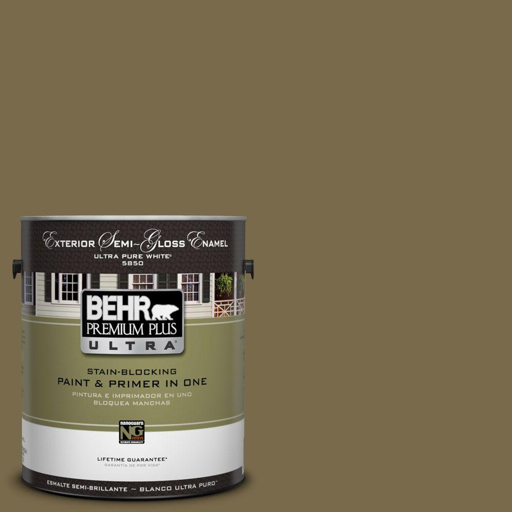 behr premium plus ultra 1 gal ul190 22 olive semi gloss enamel exterior paint 585301 the. Black Bedroom Furniture Sets. Home Design Ideas
