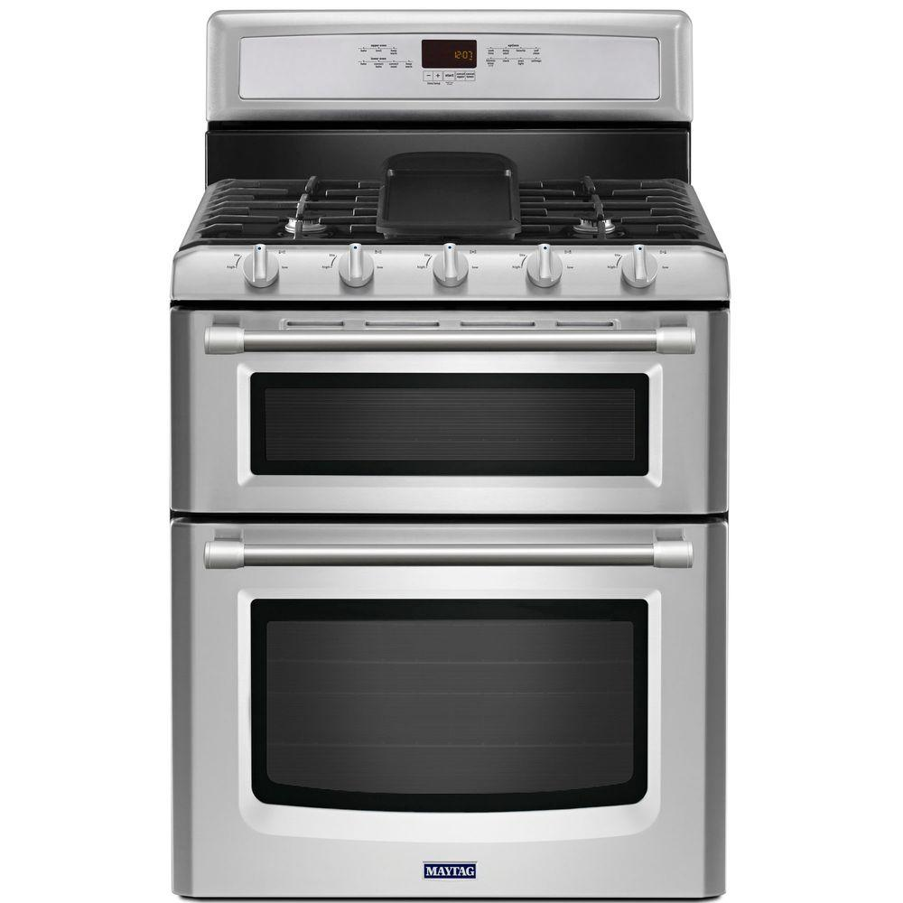 Maytag Gemini 6.0 cu. ft. Double Oven Gas Range with Self-Cleaning Convection Oven in Stainless Steel