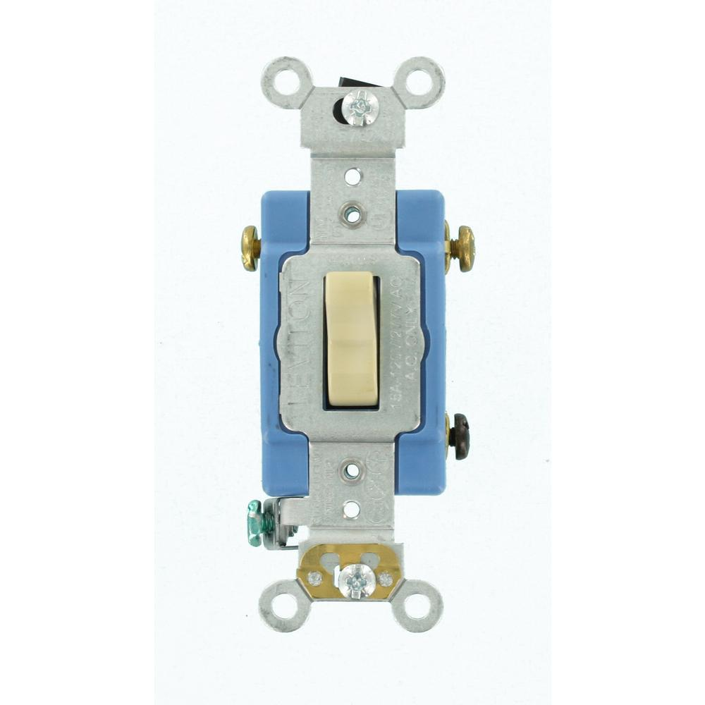 15 Amp Industrial Grade Heavy Duty 3-Way Toggle Switch, Ivory