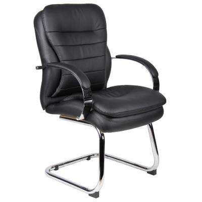 Black Mid Back CaressoftPlus Guest Chair with Chrome Sled Base