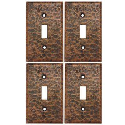 1 Gang Hammered Copper Single Toggle Switch Plate, Oil Rubbed Bronze (Quantity 4)