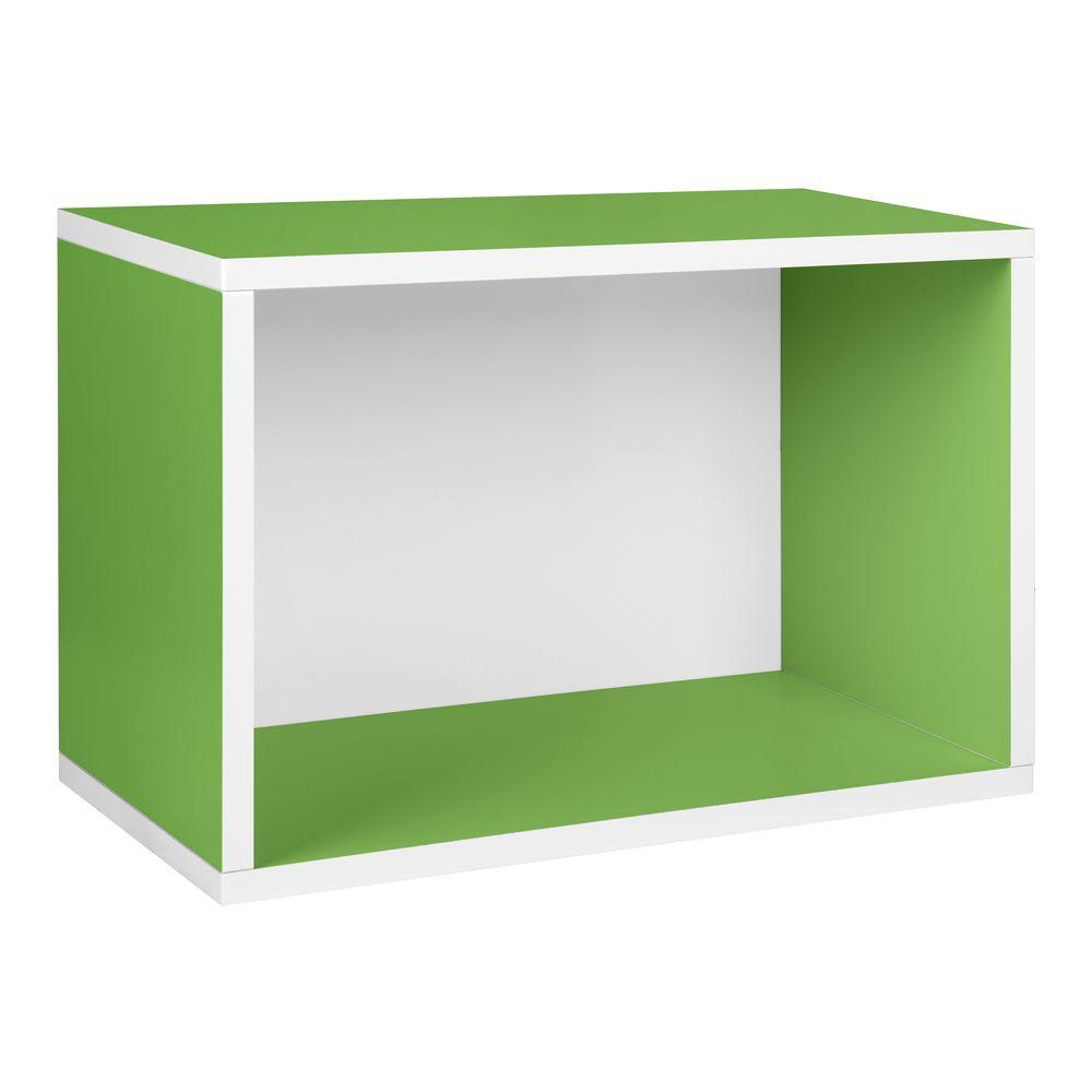 Way Basics Blox System Large Rectangle zBoard Paperboard Stackable Shelf, Shoe Storage Rack in Green