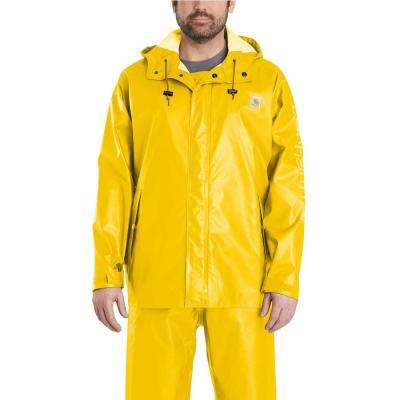 Men's Large Yellow Polyethylene/Polyester Waterproof Rain Storm Coat