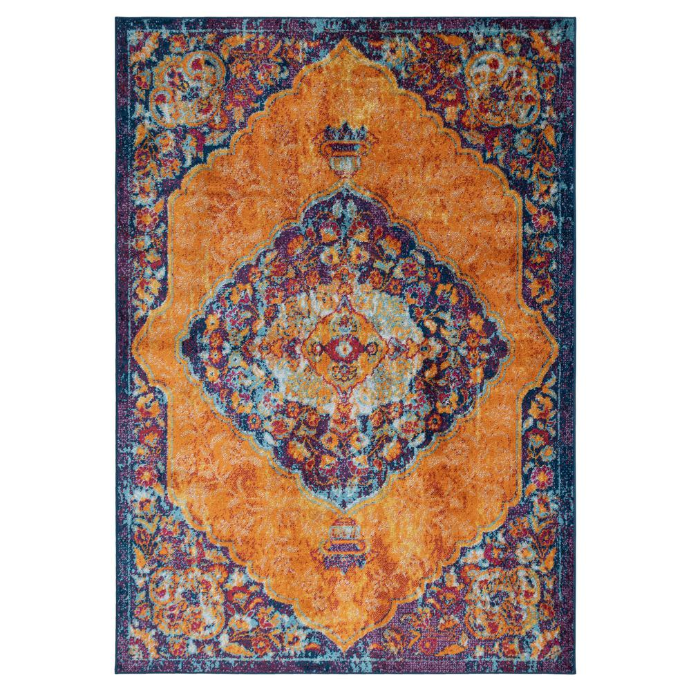 Ottomanson Rixos Collection Orange / Gold 5 ft. 3 in. x 7 ft. Distressed Medallion Design Vintage Area Rug
