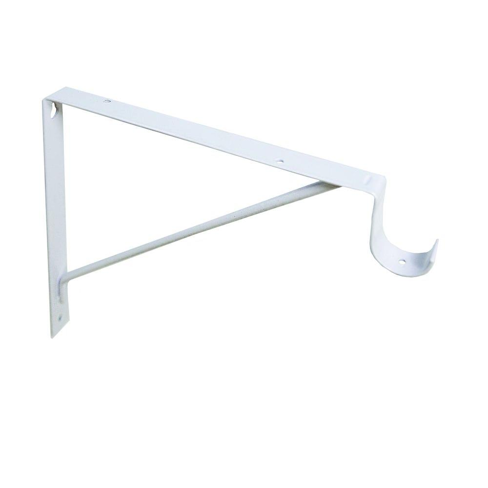 12 in. x 10-3/16 in. White Shelf-Hanging Rod Bracket