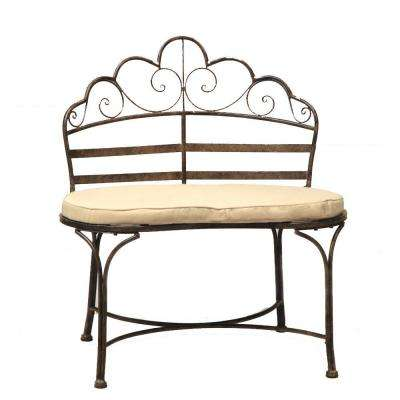 Wave 32 in. L x 19 in. D x 35 in. H Metal Patina Patio Bench