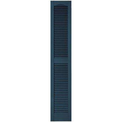 12 in. x 67 in. Louvered Vinyl Exterior Shutters Pair in #036 Classic Blue