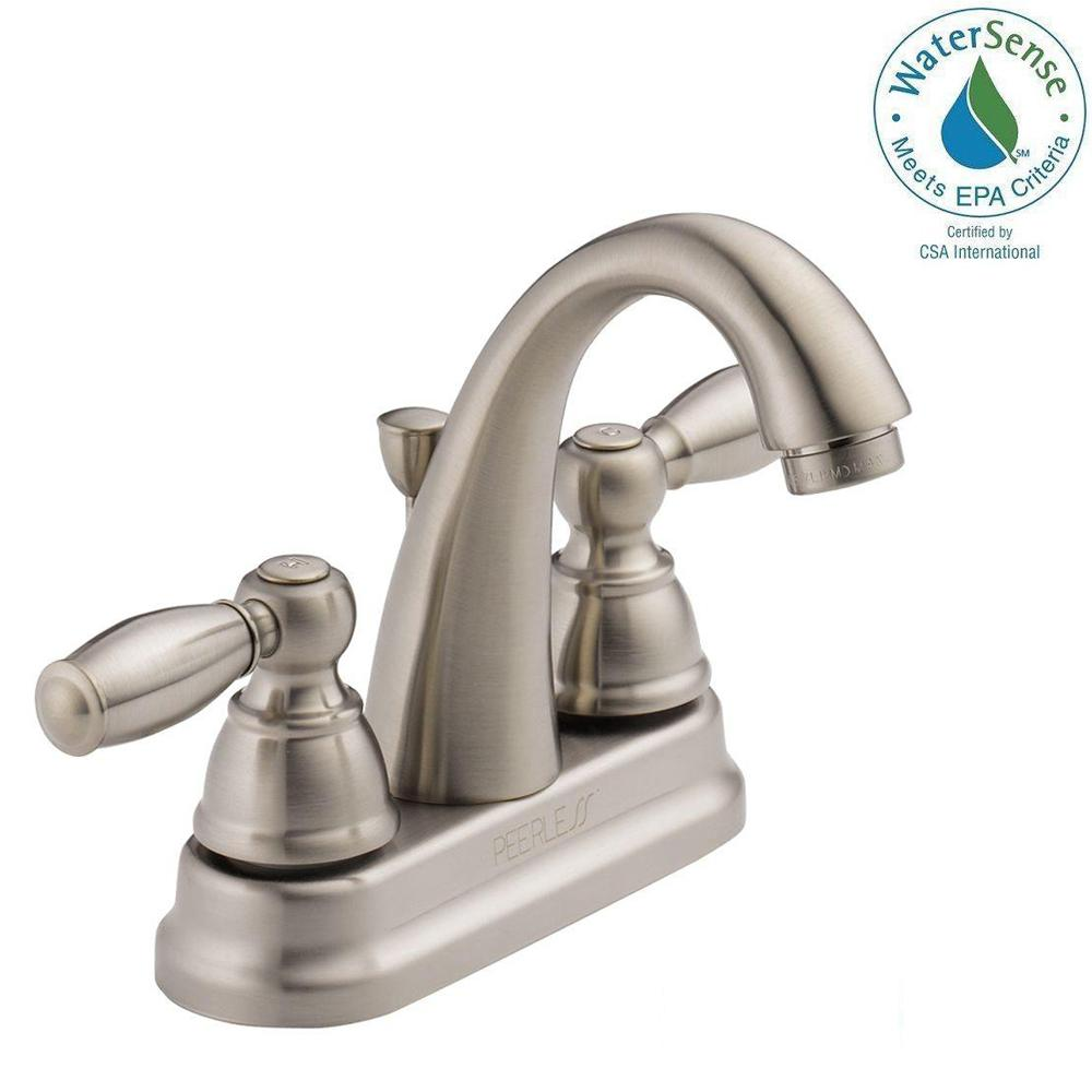 Peerless 4 in. Centerset 2-Handle Bathroom Faucet in Brushed ...