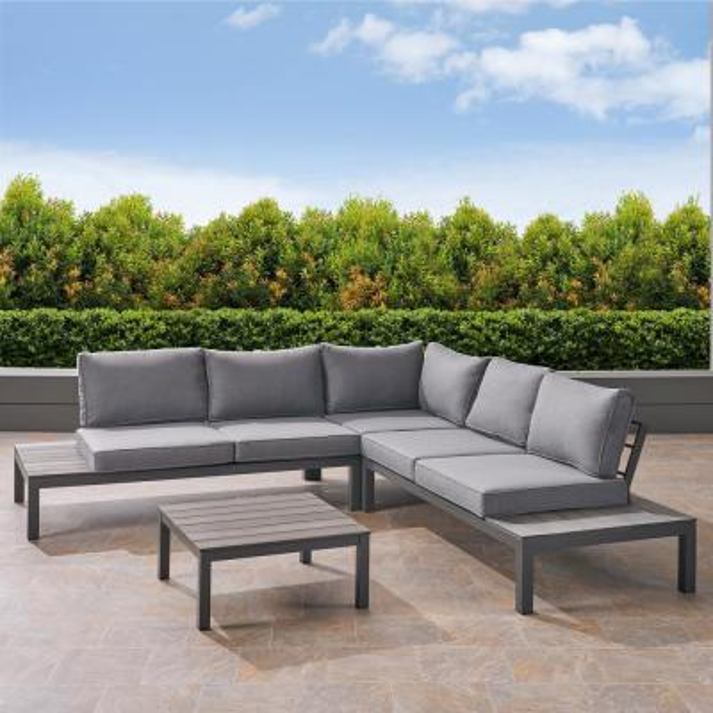 Eldon Silver 4-Piece Aluminum Patio Conversation Set with Khaki Cushions