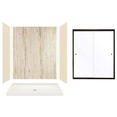 Expressions 32 in. x 60 in. x 72 in. Center Drain Alcove Shower Kit with Door in Bisque/Sorento and Bronze Hardware