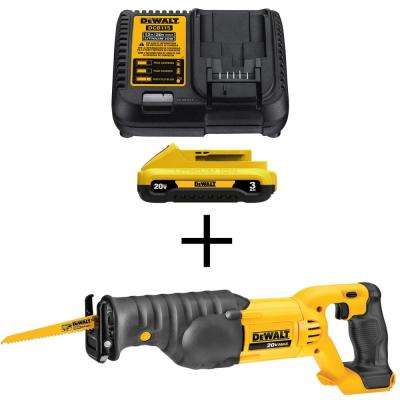 20-Volt MAX Lithium-Ion Battery Pack 3.0Ah and Charger with Bonus Bare Reciprocating Saw