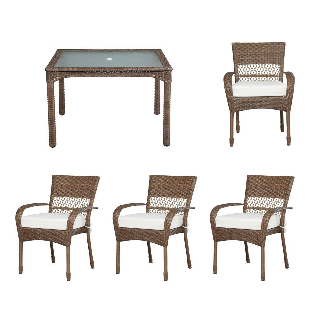 Martha Stewart Living Charlottetown Brown All Weather 5 Piece Wicker Patio  Dining Set With Cushion Insert (Slipcovers Sold Separately) 55 55651B   The  Home ...