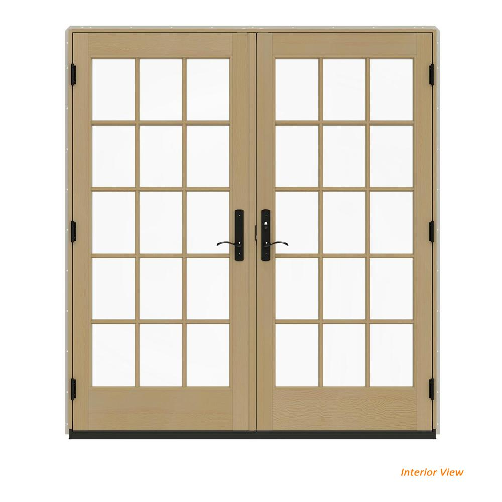 W 4500 Contemporary Desert Sand Clad Wood Left Hand 15 Lite French Patio Door Unfinished Interior
