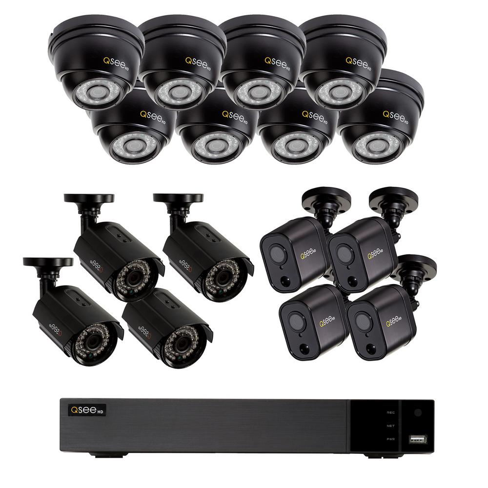 Q-SEE 16 Channel 1080p 2TB HD Video Surveillance System with 8 Dome, 4  Bullet, and 4 PIR Bullet Cameras, 100 ft  Night Vision