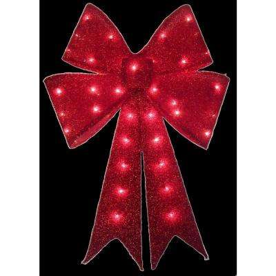24 in. Pre-Lit Red Tinsel Bow
