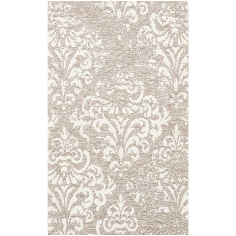 Nourison Damask Ivory Grey 2 Ft 3 In X 3 Ft 9 In
