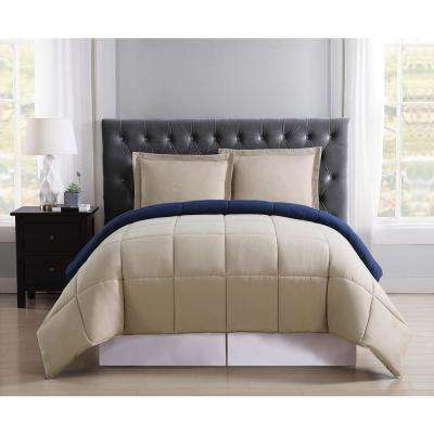 Everyday Khaki and Navy Reversible Twin XL Comforter Set