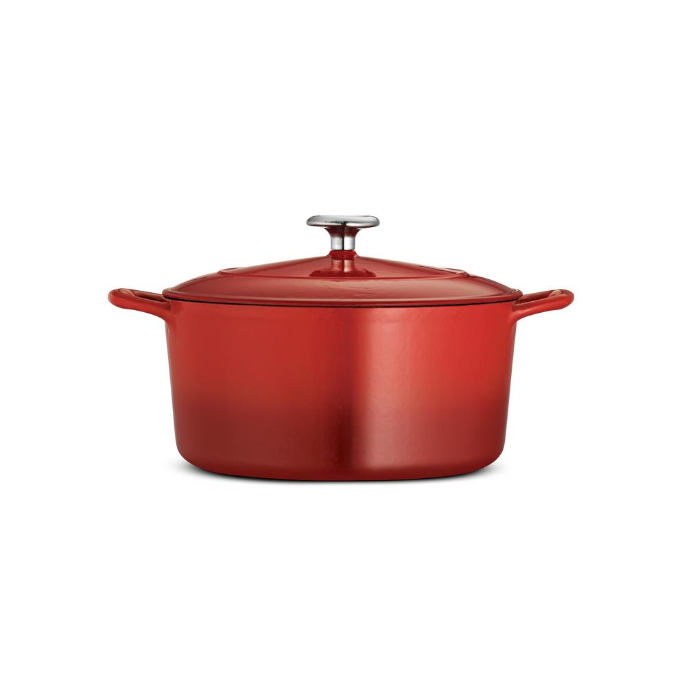 Gourmet 5.5 qt. Round Porcelain-Enameled Cast Iron Dutch Oven in Gradated Red with Lid