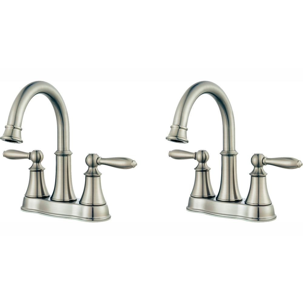 Pfister Courant 4 in. Centerset 2-Handle Bathroom Faucet in Brushed Nickel (2-Pack Combo)