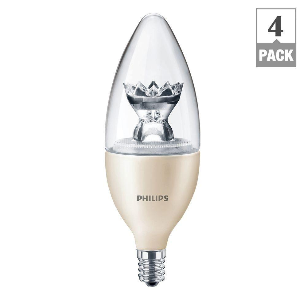 Philips 40W Equivalent Soft White (2700K) B13 Blunt Tip Candle Dimmable LED Light Bulb (4-Pack)