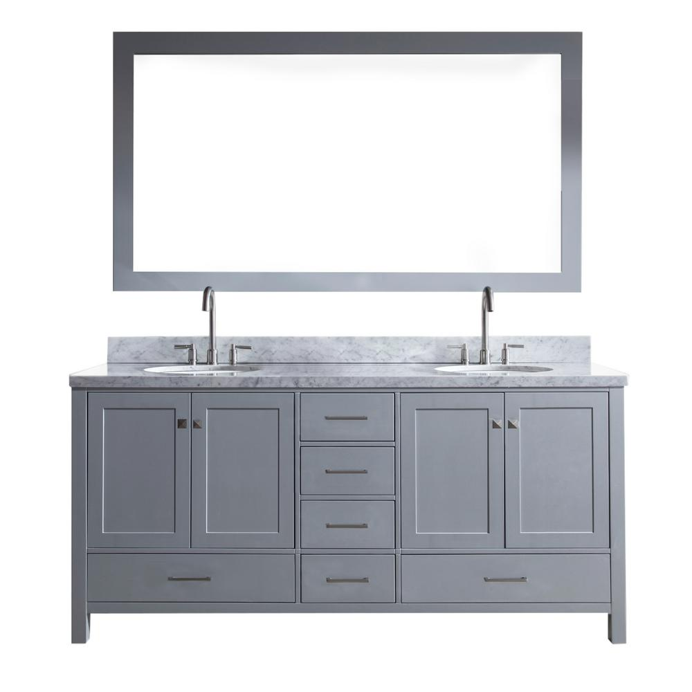 Ariel Cambridge 73 in. Bath Vanity in Grey with Marble Vanity Top in Carrara White with White Basins and Mirror