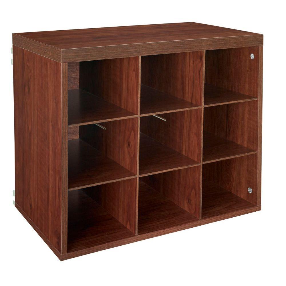 20 in. H x 24 in. W x 14 in. D Dark Cherry Wood Look 9-Cube Storage Organizer
