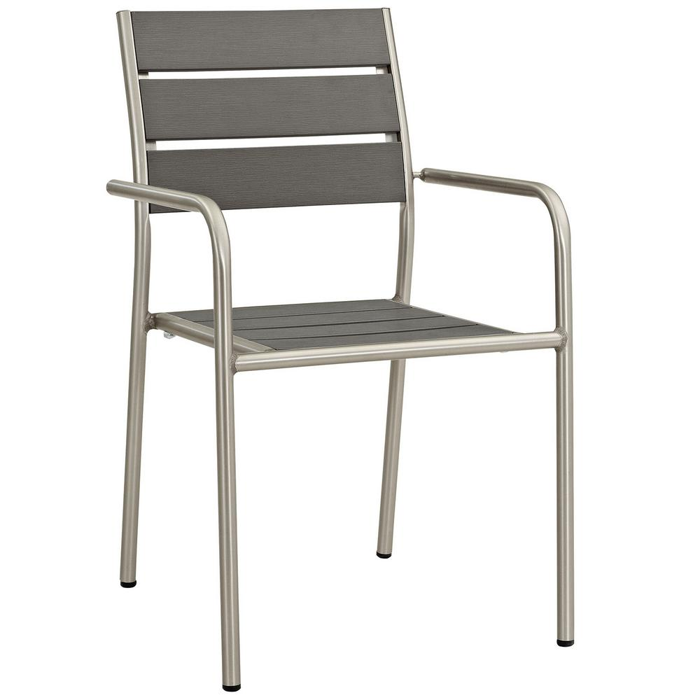 Shore Patio Aluminum Outdoor Dining Chair in Silver Gray