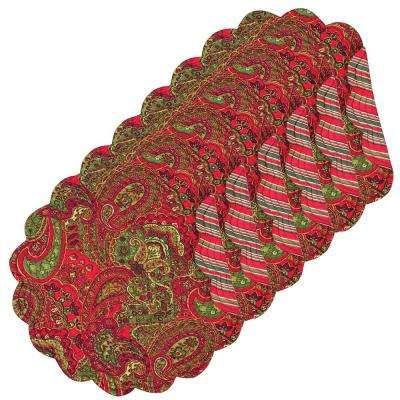 Gloria Round Red Placemat (Set of 6)