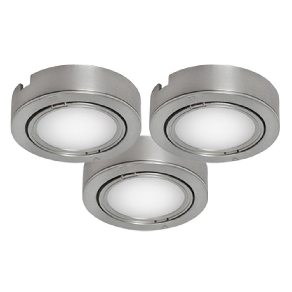 BAZZ Brushed Chrome Under Cabinet Puck Lights (3-Pack)