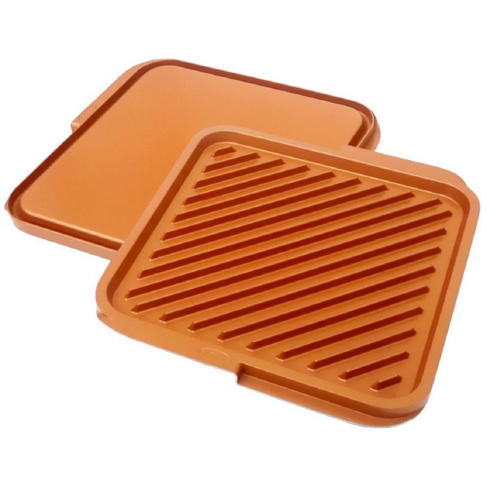 12 in. x 11 in. Aluminum Ti-Ceramic Non-Stick Square Reversible Double Grill