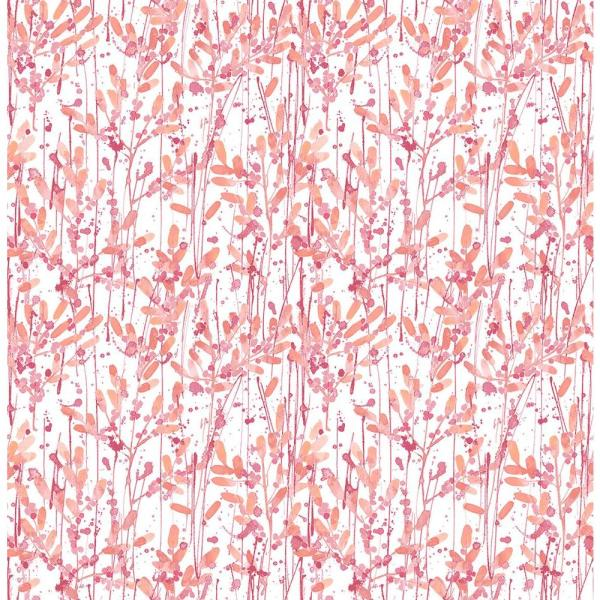 A-Street Willow Pink Leaves Wallpaper Sample 2656-004055SAM