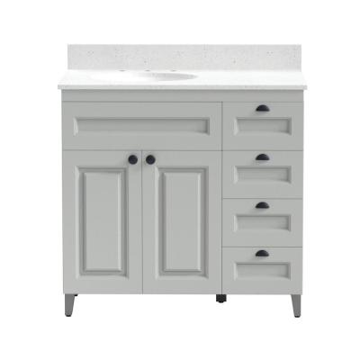 36 in. Metal Bathroom Vanity in Gray with Iced White Engineered Marble Vanity Top and White Sink