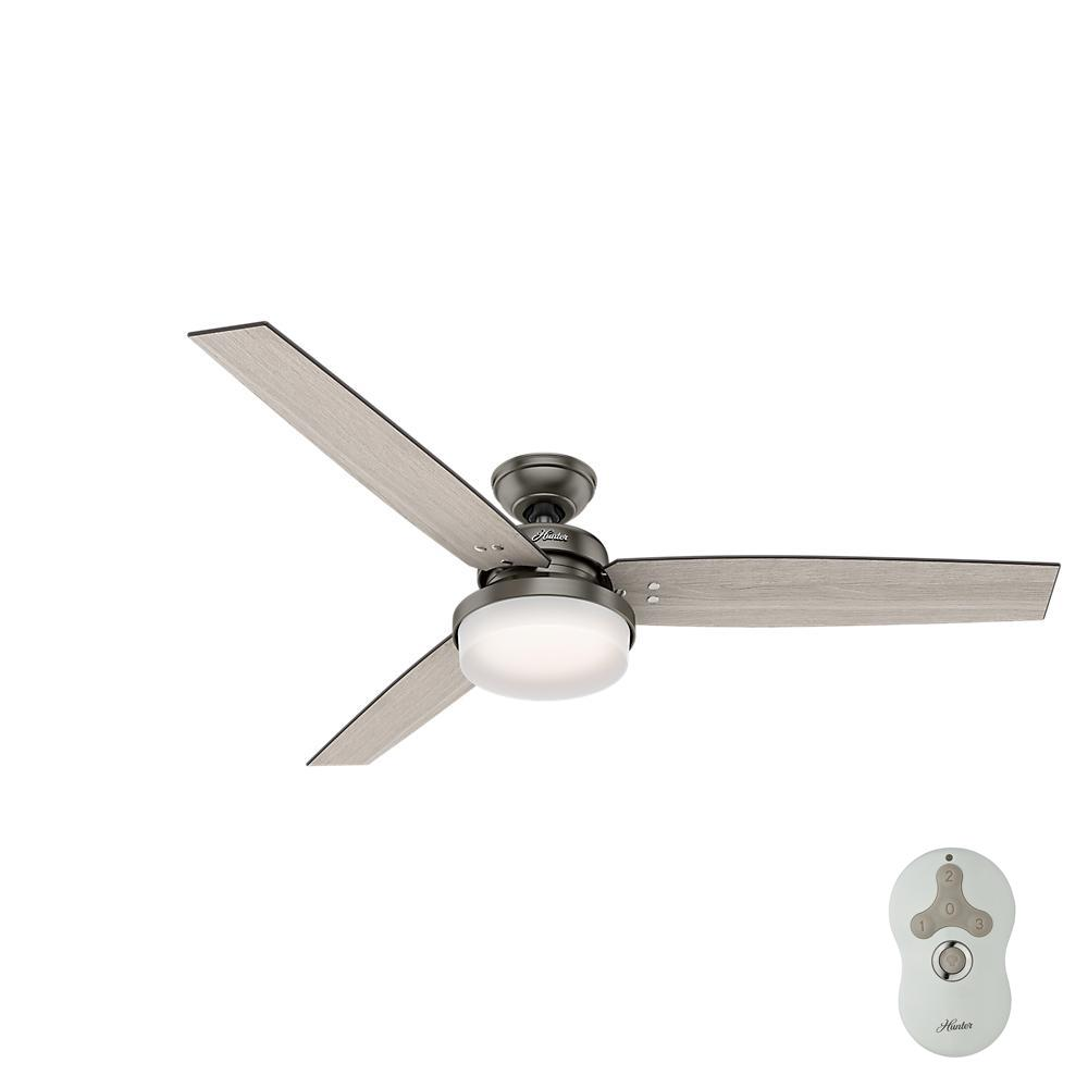 hunter sentinel 60 in led indoor brushed slate ceiling fan with integrated light kit and. Black Bedroom Furniture Sets. Home Design Ideas