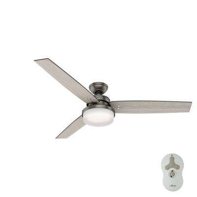 Sentinel 60 in. LED Indoor Brushed Slate Ceiling Fan with Integrated Light Kit and Handheld Remote Control